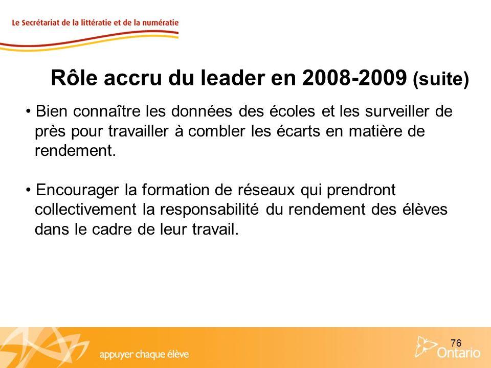 76 Rôle accru du leader en 2008-2009 (suite) Bien connaître les données des écoles et les surveiller de près pour travailler à combler les écarts en m