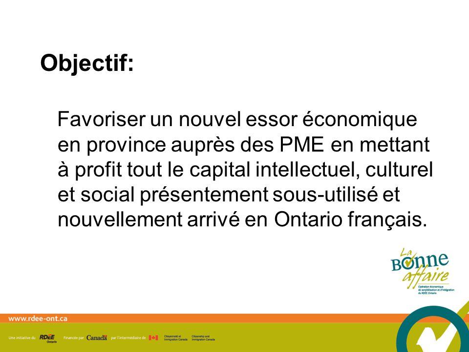 Favoriser un nouvel essor économique en province auprès des PME en mettant à profit tout le capital intellectuel, culturel et social présentement sous-utilisé et nouvellement arrivé en Ontario français.