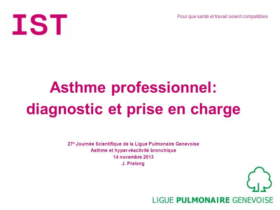 Pour que santé et travail soient compatibles Asthme professionnel: diagnostic et prise en charge 27 e Journée Scientifique de la Ligue Pulmonaire Gene