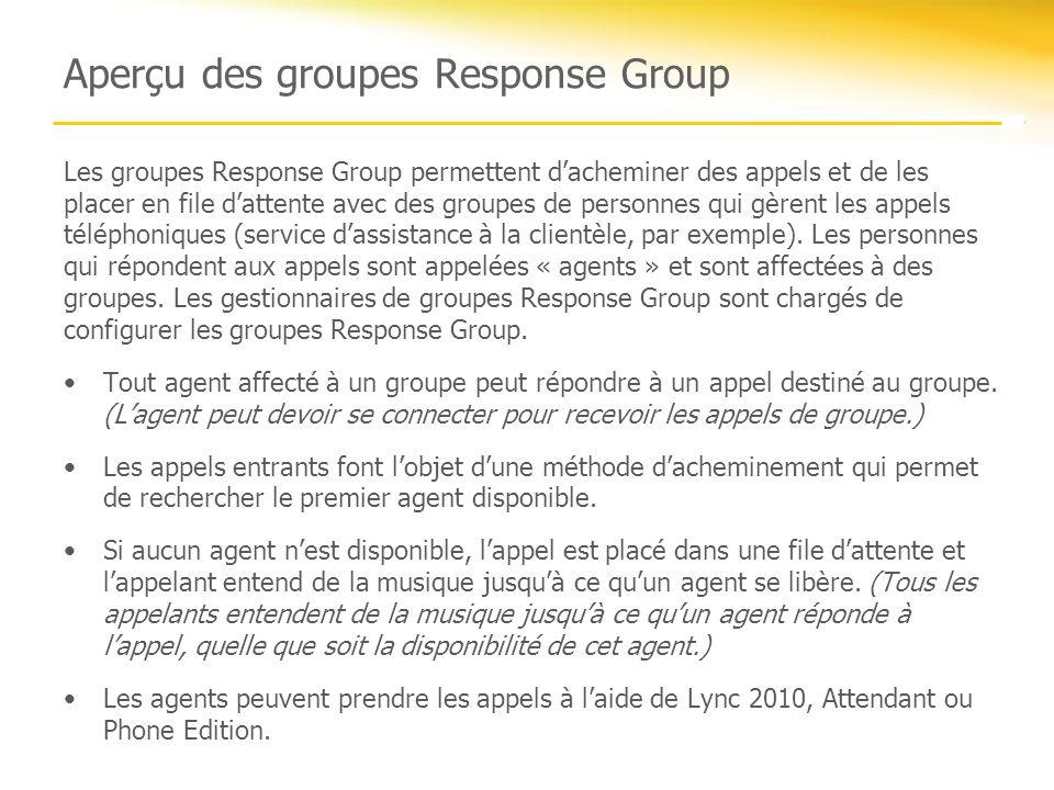 Aperçu des groupes Response Group Les groupes Response Group permettent dacheminer des appels et de les placer en file dattente avec des groupes de pe