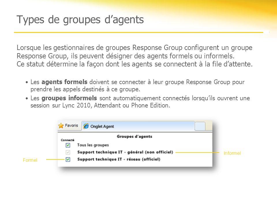 Types de groupes dagents Lorsque les gestionnaires de groupes Response Group configurent un groupe Response Group, ils peuvent désigner des agents for