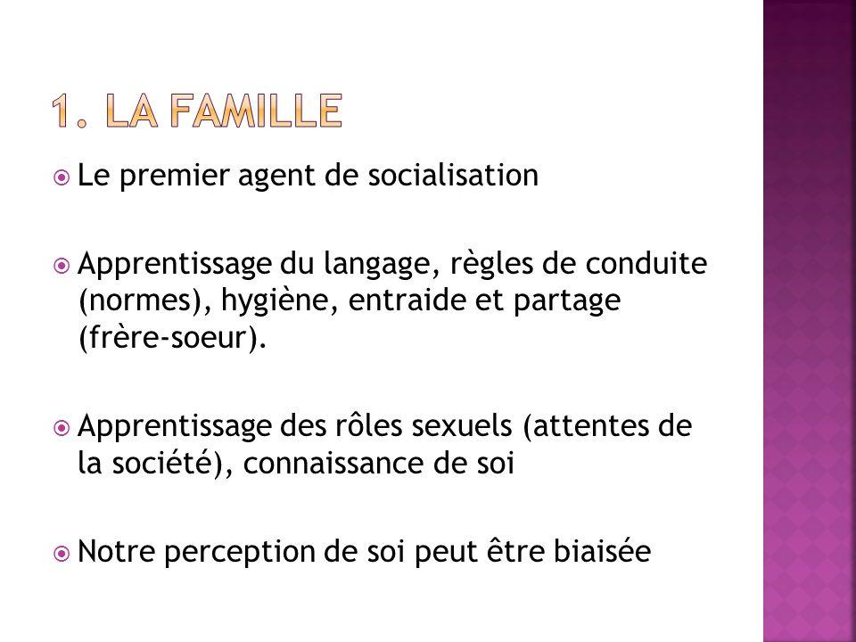 Le premier agent de socialisation Apprentissage du langage, règles de conduite (normes), hygiène, entraide et partage (frère-soeur). Apprentissage des