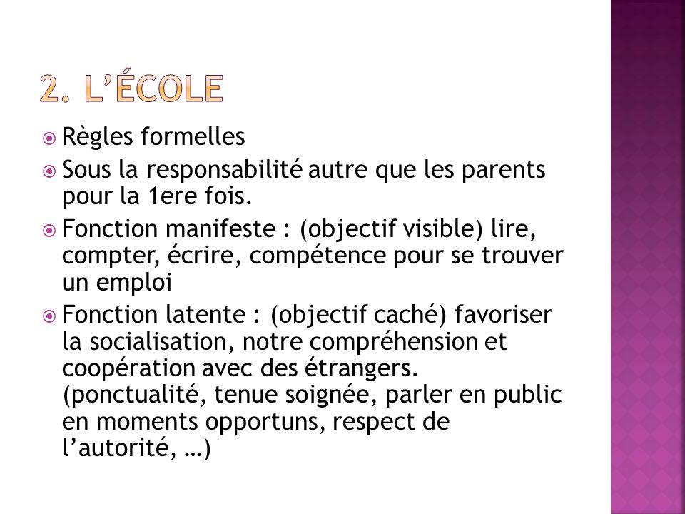 Règles formelles Sous la responsabilité autre que les parents pour la 1ere fois. Fonction manifeste : (objectif visible) lire, compter, écrire, compét