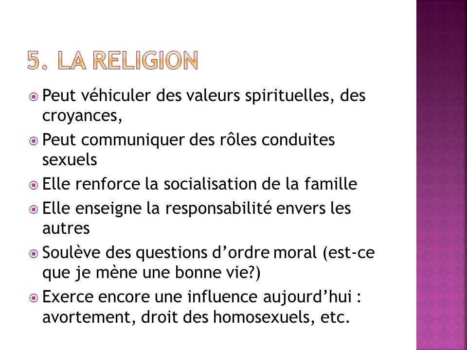 Peut véhiculer des valeurs spirituelles, des croyances, Peut communiquer des rôles conduites sexuels Elle renforce la socialisation de la famille Elle