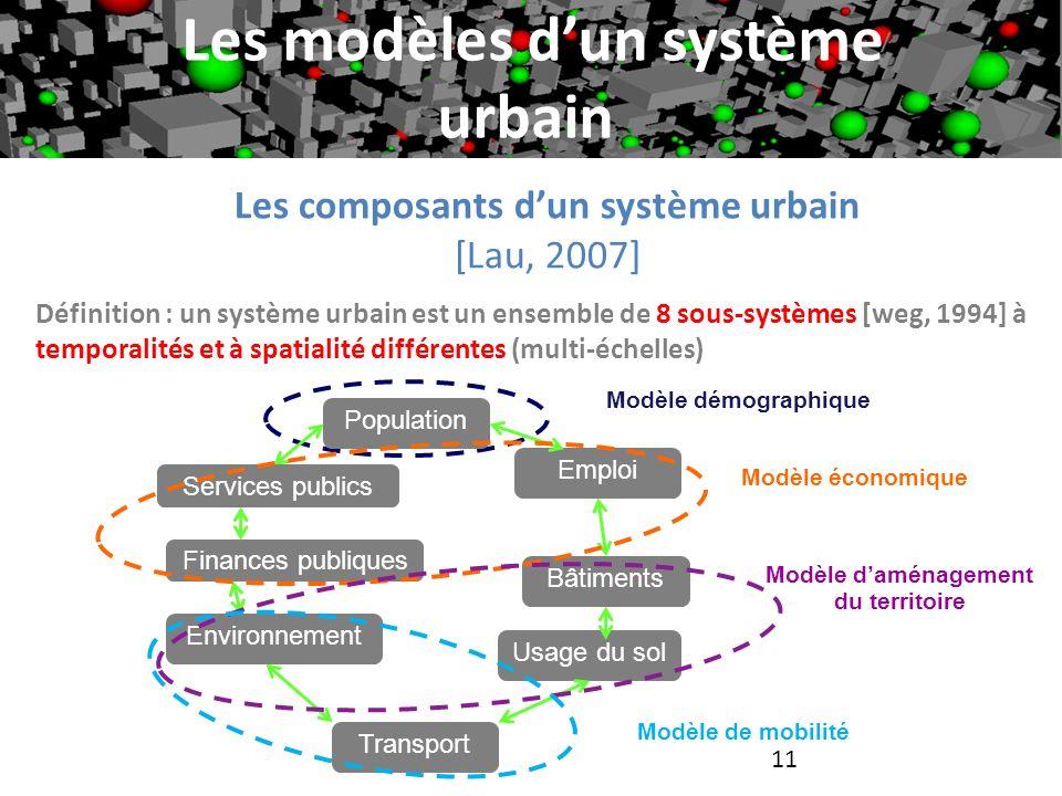 Les modèles dun système urbain Définition : un système urbain est un ensemble de 8 sous-systèmes [weg, 1994] à temporalités et à spatialité différente