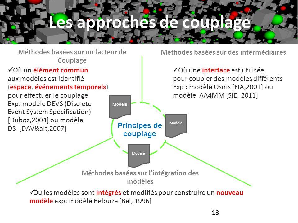 13 Les approches de couplage Où un élément commun aux modèles est identifié (espace, événements temporels) pour effectuer le couplage Exp: modèle DEVS