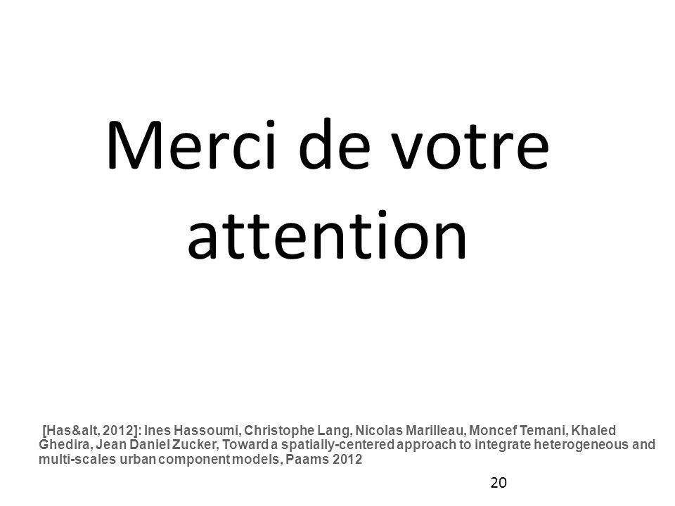 20 Merci de votre attention [Has&alt, 2012]: Ines Hassoumi, Christophe Lang, Nicolas Marilleau, Moncef Temani, Khaled Ghedira, Jean Daniel Zucker, Tow