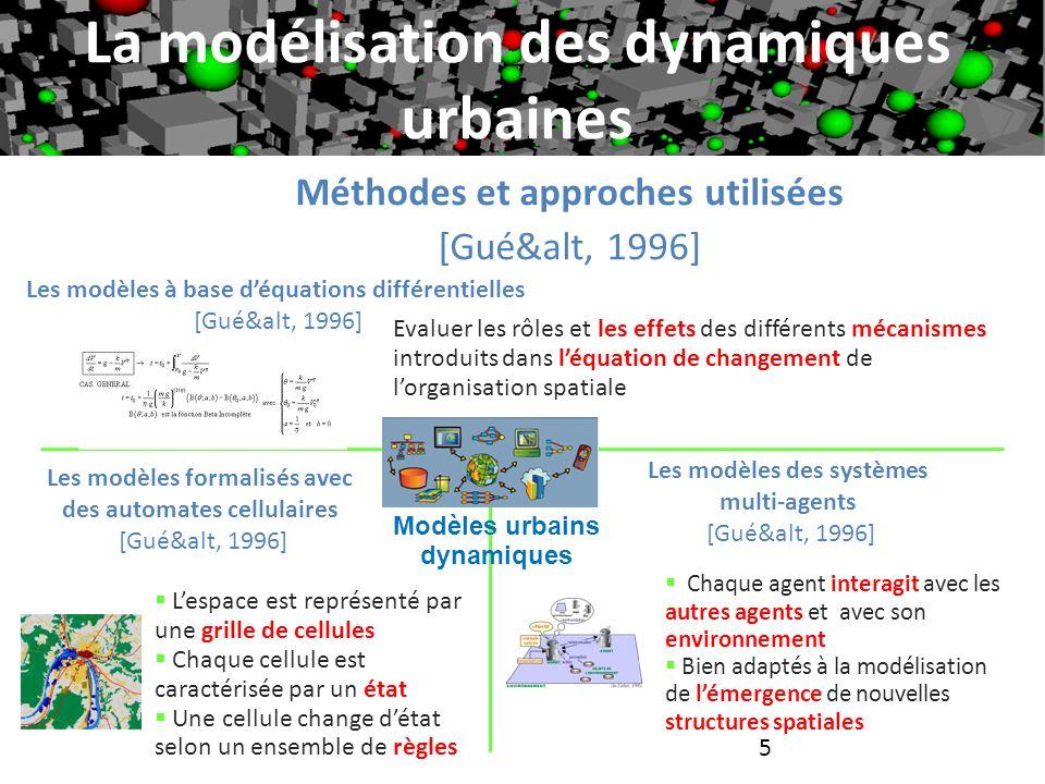 6 Les modèles à base déquations différentielles: modélisation mathématique de la dynamique urbaine de la ville de Marrakech [Ghordaf, 2007] Principes La modélisation des dynamiques urbaines Un système complexe déquations différentielles ordinaires fortement non linéaire basé sur le modèle de P.Allen [All&alt, 1999] pour étudier : 1) la dynamique lente de lévolution démographique 2)la dynamique rapide du processus de migration entre les sous régions 3)le potentiel économique et les attractivités résidentielles par zone