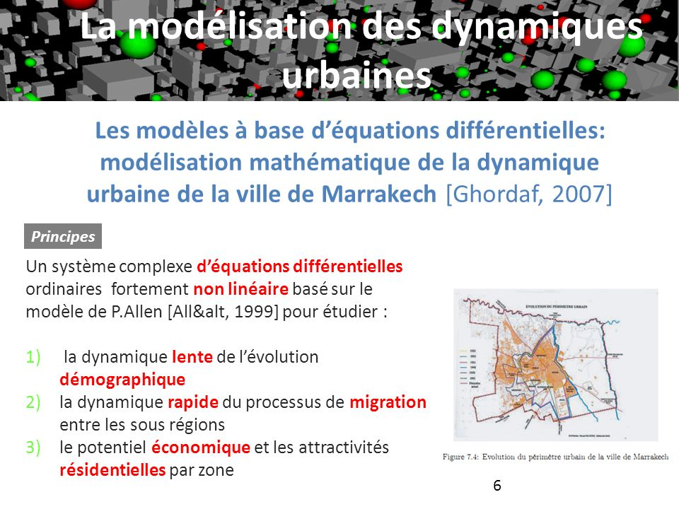 6 Les modèles à base déquations différentielles: modélisation mathématique de la dynamique urbaine de la ville de Marrakech [Ghordaf, 2007] Principes