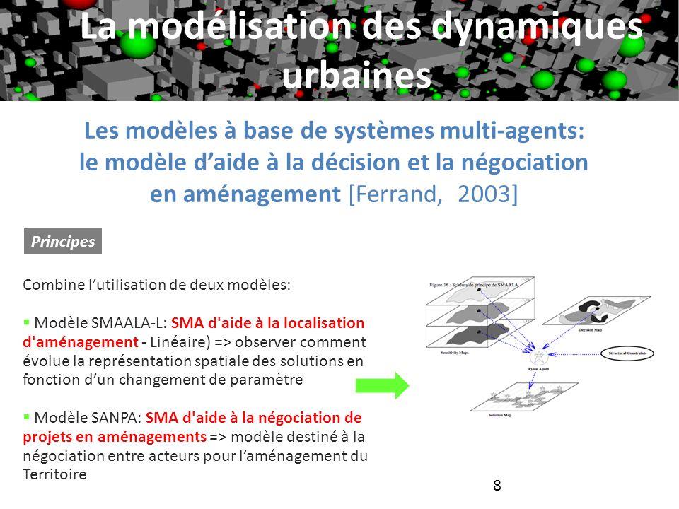 8 Les modèles à base de systèmes multi-agents: le modèle daide à la décision et la négociation en aménagement [Ferrand, 2003] Principes La modélisatio