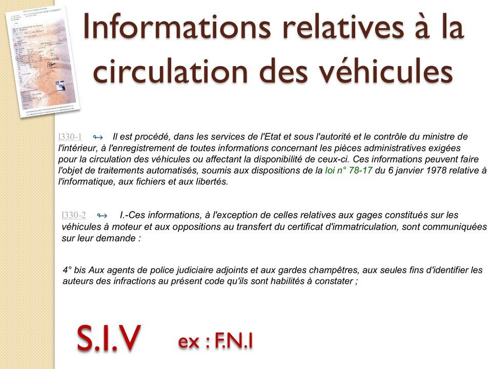S.I.VS.I.V ex : F.N.I Informations relatives à la circulation des véhicules