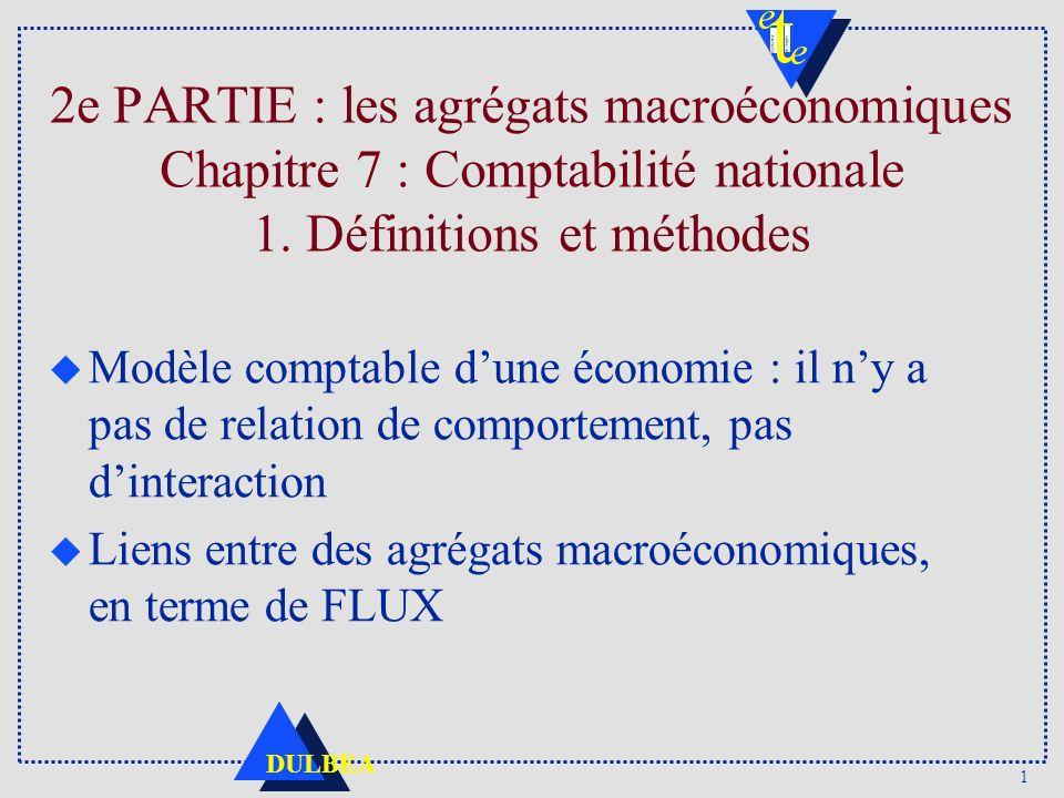 1 DULBEA 2e PARTIE : les agrégats macroéconomiques Chapitre 7 : Comptabilité nationale 1.