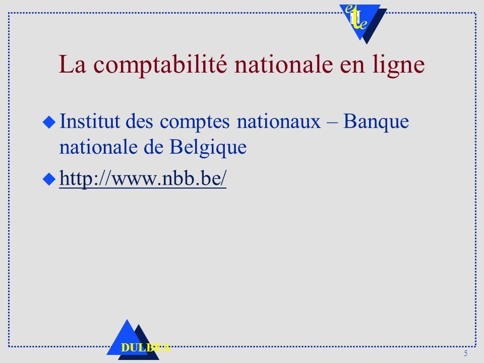 5 DULBEA La comptabilité nationale en ligne u Institut des comptes nationaux – Banque nationale de Belgique u http://www.nbb.be/ http://www.nbb.be/
