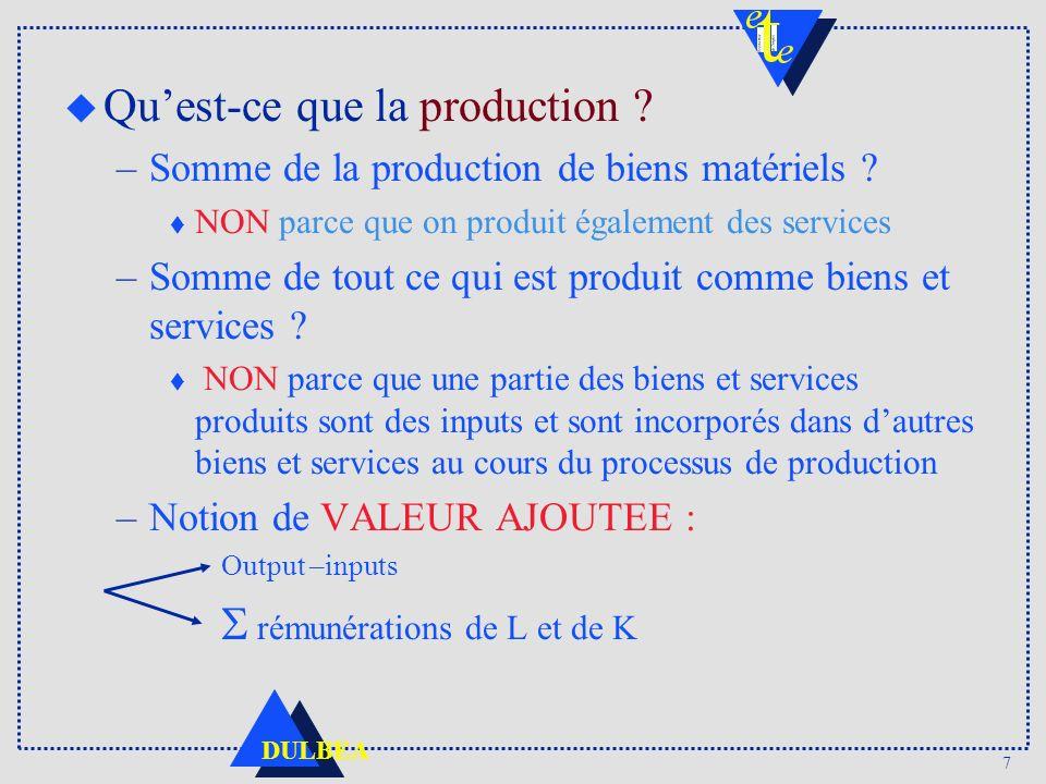 7 DULBEA u Quest-ce que la production .–Somme de la production de biens matériels .