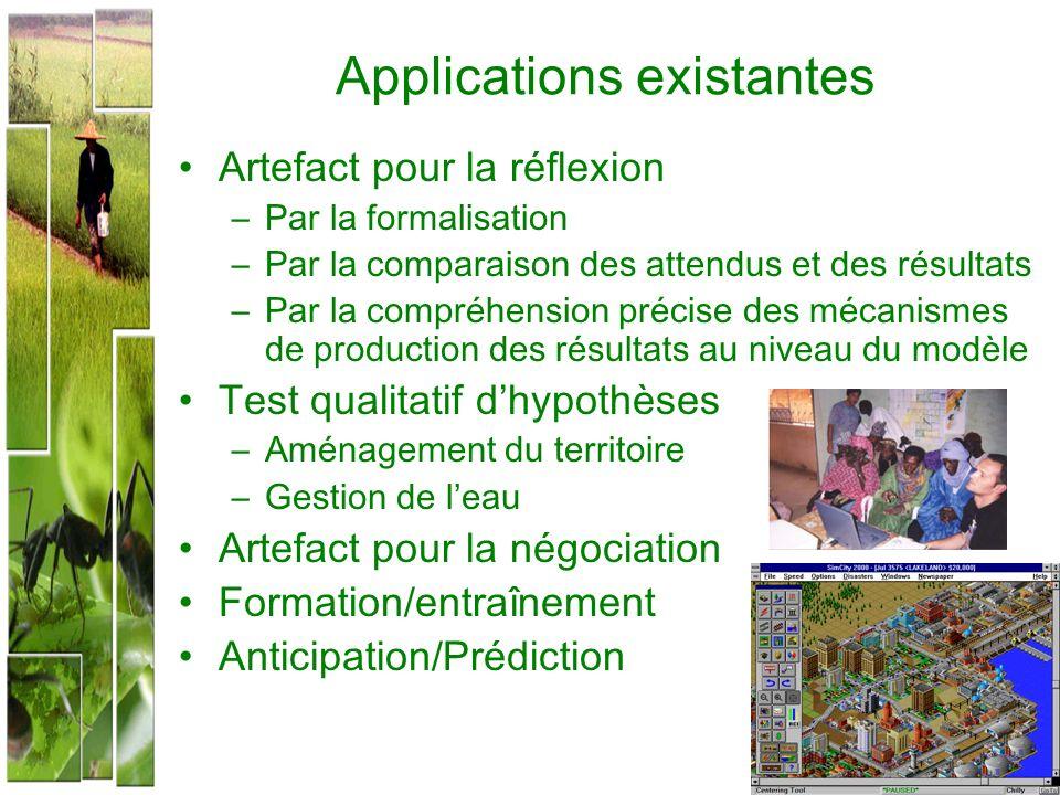Applications existantes Artefact pour la réflexion –Par la formalisation –Par la comparaison des attendus et des résultats –Par la compréhension préci