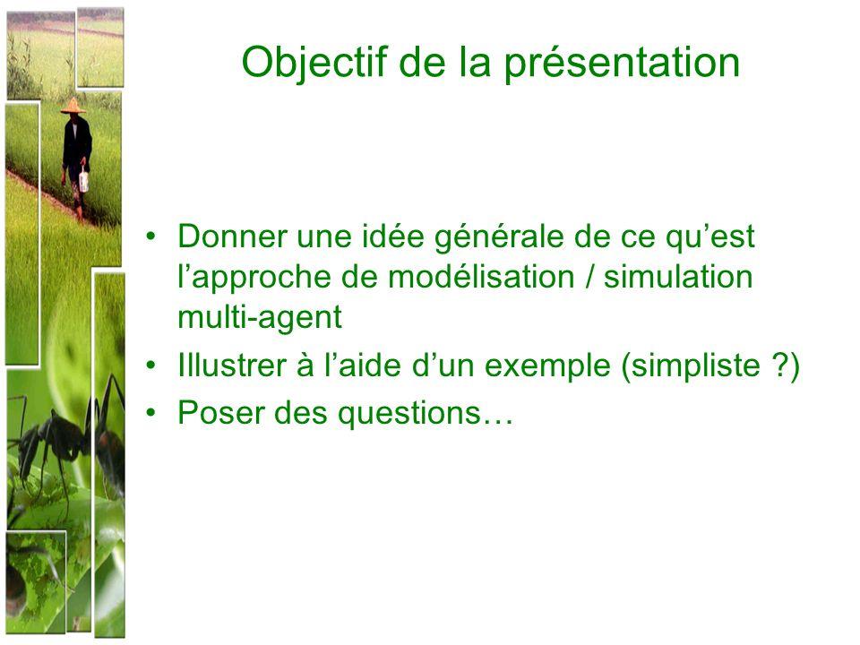 Objectif de la présentation Donner une idée générale de ce quest lapproche de modélisation / simulation multi-agent Illustrer à laide dun exemple (sim