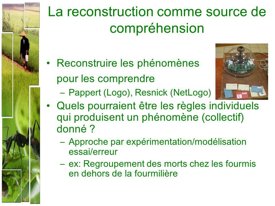 La reconstruction comme source de compréhension Reconstruire les phénomènes pour les comprendre –Pappert (Logo), Resnick (NetLogo) Quels pourraient êt