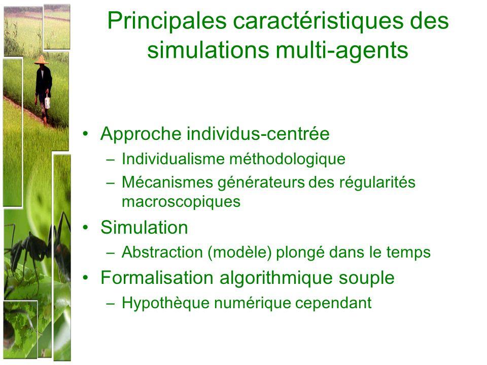 Principales caractéristiques des simulations multi-agents Approche individus-centrée –Individualisme méthodologique –Mécanismes générateurs des régula