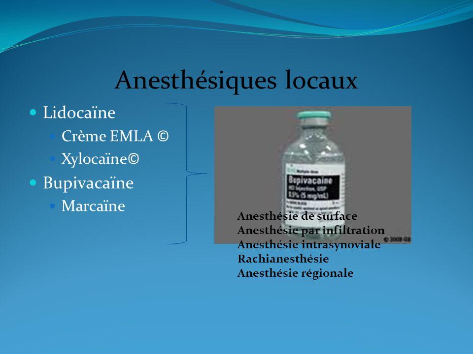 Anesthésiques locaux Lidocaïne Crème EMLA © Xylocaïne© Bupivacaïne Marcaïne Anesthésie de surface Anesthésie par infiltration Anesthésie intrasynovial