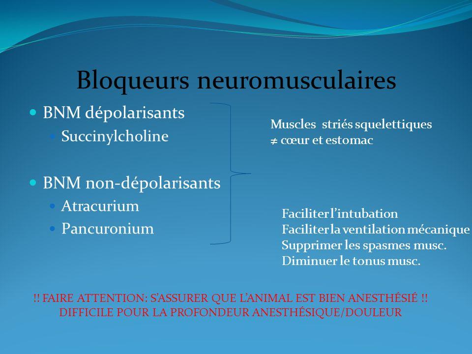 Bloqueurs neuromusculaires BNM dépolarisants Succinylcholine BNM non-dépolarisants Atracurium Pancuronium Muscles striés squelettiques cœur et estomac