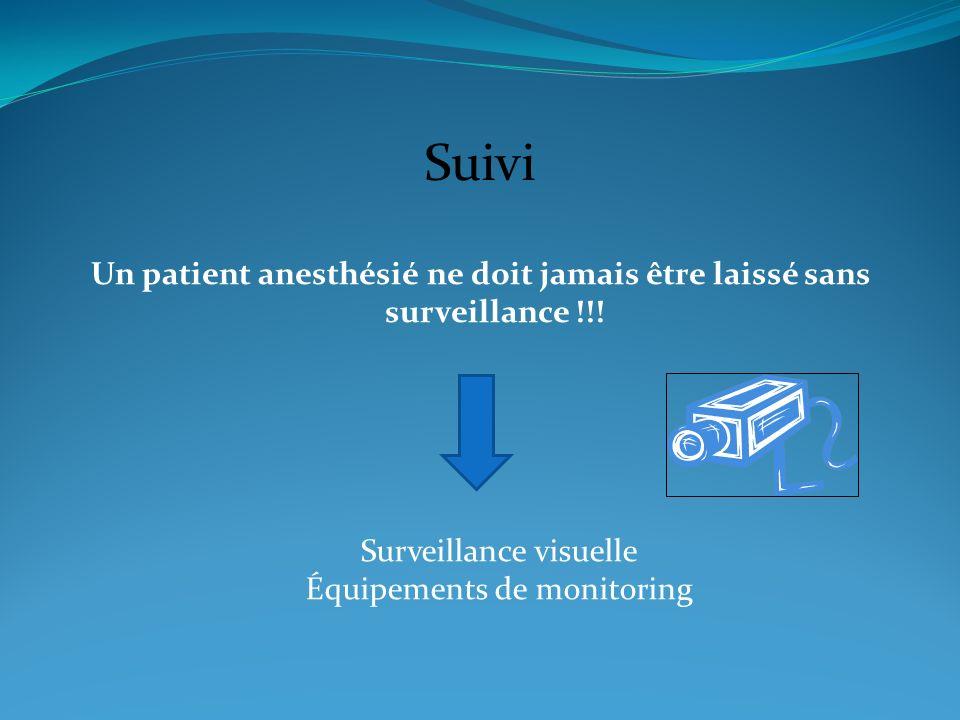 Suivi Un patient anesthésié ne doit jamais être laissé sans surveillance !!! Surveillance visuelle Équipements de monitoring