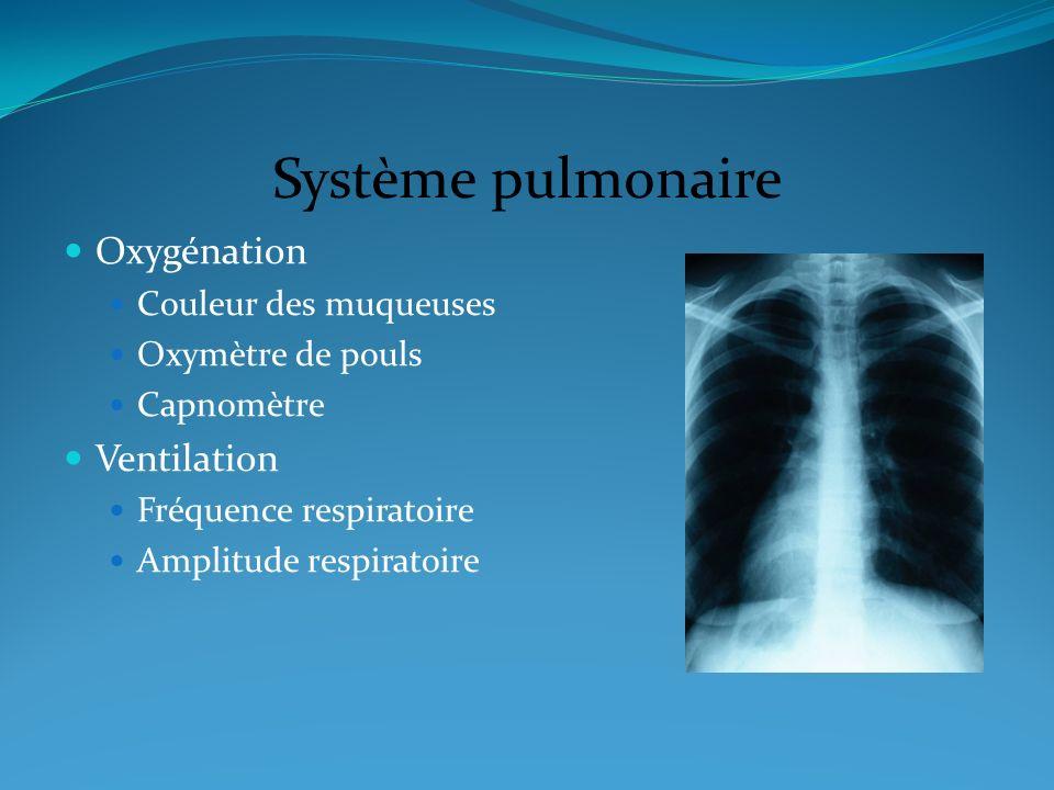 Système pulmonaire Oxygénation Couleur des muqueuses Oxymètre de pouls Capnomètre Ventilation Fréquence respiratoire Amplitude respiratoire