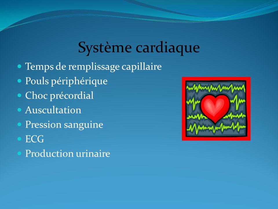 Système cardiaque Temps de remplissage capillaire Pouls périphérique Choc précordial Auscultation Pression sanguine ECG Production urinaire