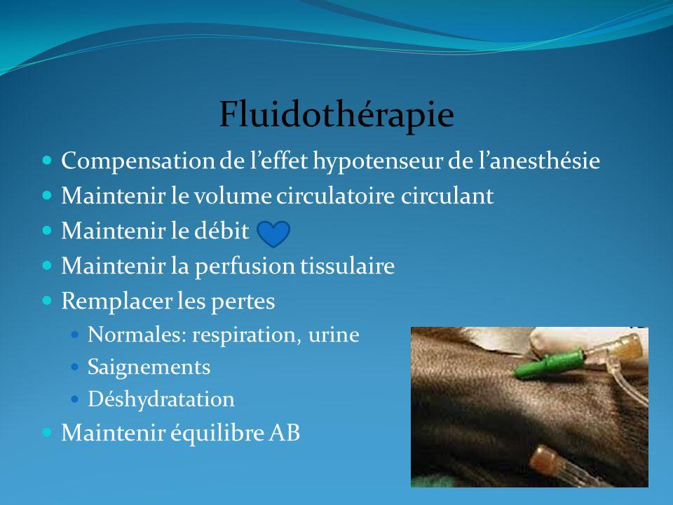 Fluidothérapie Compensation de leffet hypotenseur de lanesthésie Maintenir le volume circulatoire circulant Maintenir le débit Maintenir la perfusion
