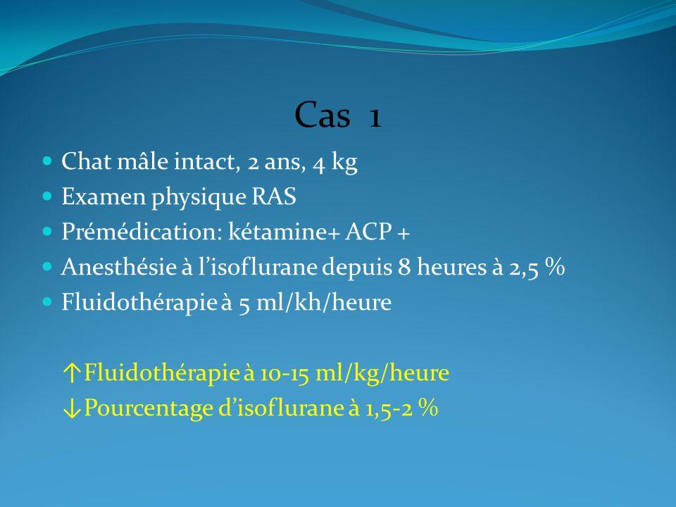 Cas 1 Chat mâle intact, 2 ans, 4 kg Examen physique RAS Prémédication: kétamine+ ACP + Anesthésie à lisoflurane depuis 8 heures à 2,5 % Fluidothérapie