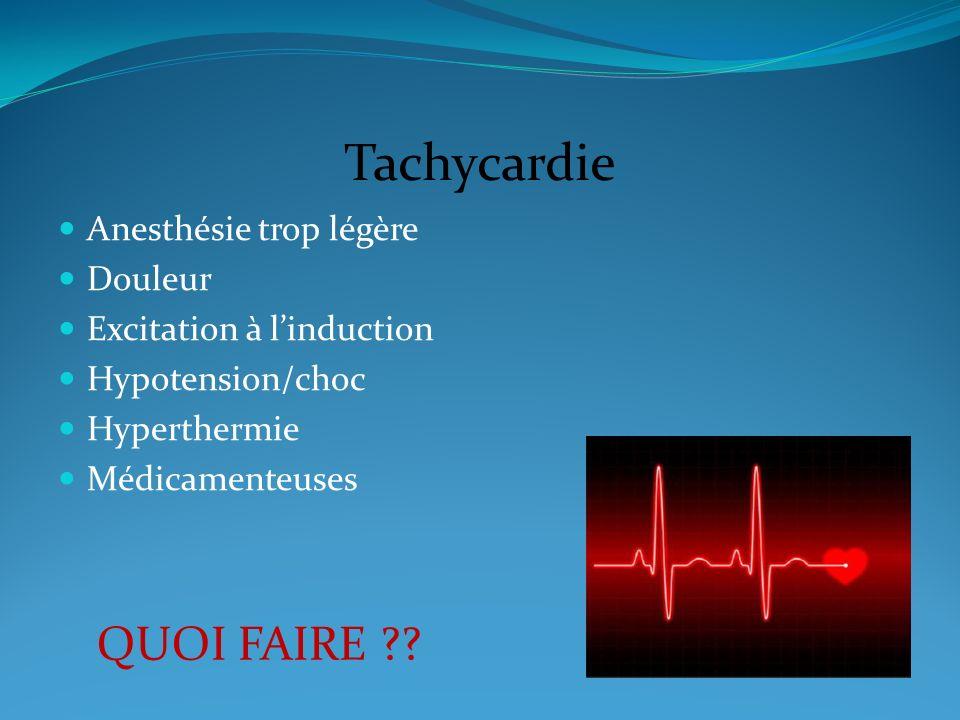 Tachycardie Anesthésie trop légère Douleur Excitation à linduction Hypotension/choc Hyperthermie Médicamenteuses QUOI FAIRE ??