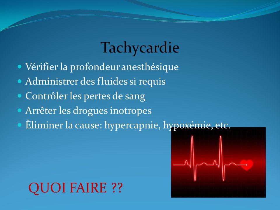 Tachycardie Vérifier la profondeur anesthésique Administrer des fluides si requis Contrôler les pertes de sang Arrêter les drogues inotropes Éliminer