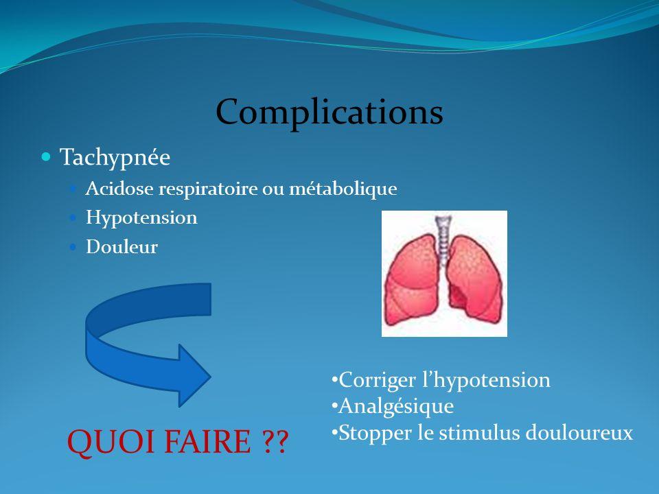 Complications Tachypnée Acidose respiratoire ou métabolique Hypotension Douleur QUOI FAIRE ?? Corriger lhypotension Analgésique Stopper le stimulus do