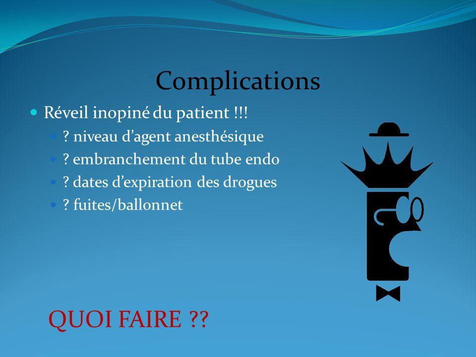 Complications QUOI FAIRE ?? Réveil inopiné du patient !!! ? niveau dagent anesthésique ? embranchement du tube endo ? dates dexpiration des drogues ?