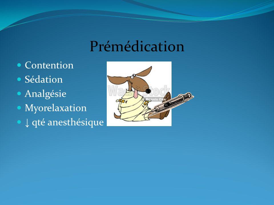 Prémédication Contention Sédation Analgésie Myorelaxation qté anesthésique