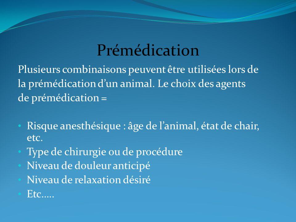 Prémédication Plusieurs combinaisons peuvent être utilisées lors de la prémédication dun animal. Le choix des agents de prémédication = Risque anesthé