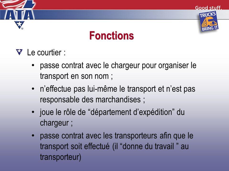 Fonctions Le courtier : passe contrat avec le chargeur pour organiser le transport en son nom ; neffectue pas lui-même le transport et nest pas respon