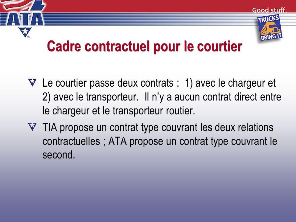 Cadre contractuel pour le courtier Le courtier passe deux contrats : 1) avec le chargeur et 2) avec le transporteur. Il ny a aucun contrat direct entr
