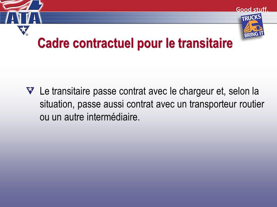 Cadre contractuel pour le transitaire Le transitaire passe contrat avec le chargeur et, selon la situation, passe aussi contrat avec un transporteur r