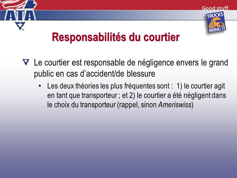 Responsabilités du courtier Le courtier est responsable de négligence envers le grand public en cas daccident/de blessure Les deux théories les plus f