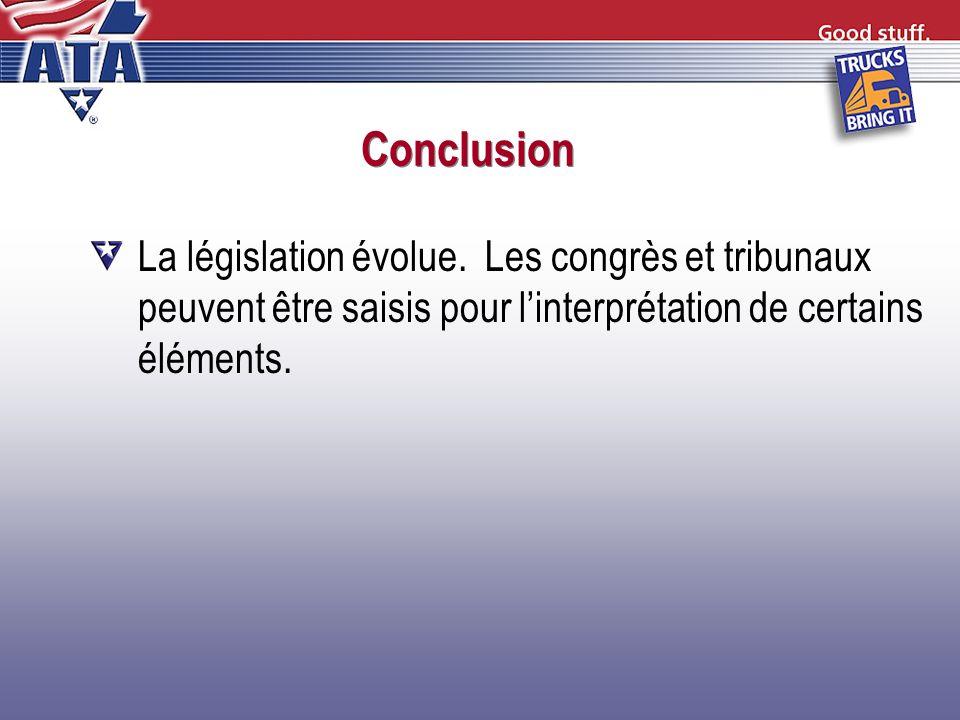 Conclusion La législation évolue. Les congrès et tribunaux peuvent être saisis pour linterprétation de certains éléments.