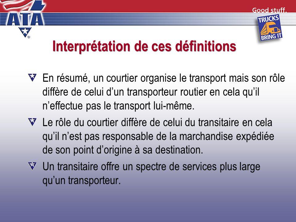 Interprétation de ces définitions En résumé, un courtier organise le transport mais son rôle diffère de celui dun transporteur routier en cela quil ne