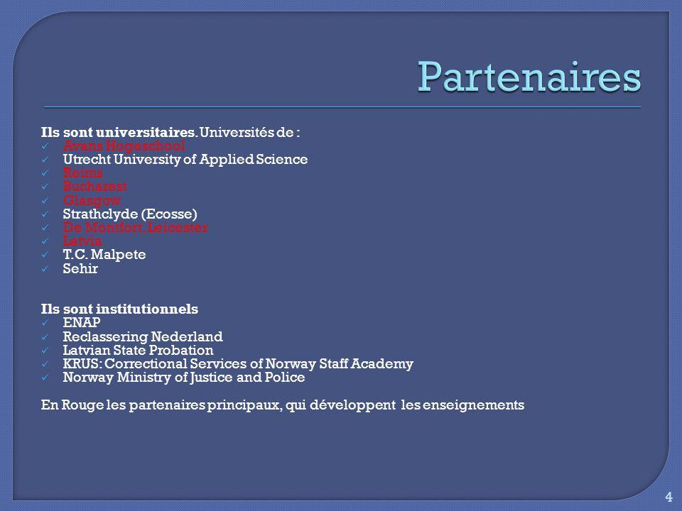 Le CJSW diploma se divise en plusieurs modules denseignement: Module 1: Mise en perspective générale et contexte juridique/éthique professionnelle Module 2: Construire une alliance avec les probationnaires/les skills requises des agents de probation Module 3: Lévaluation Module 4: Les difficultés et stress du travail Module 5: Les pratiques fondées sur les données acquises de la science (evidence-based practices) Module 6: Ressources: capital social 5