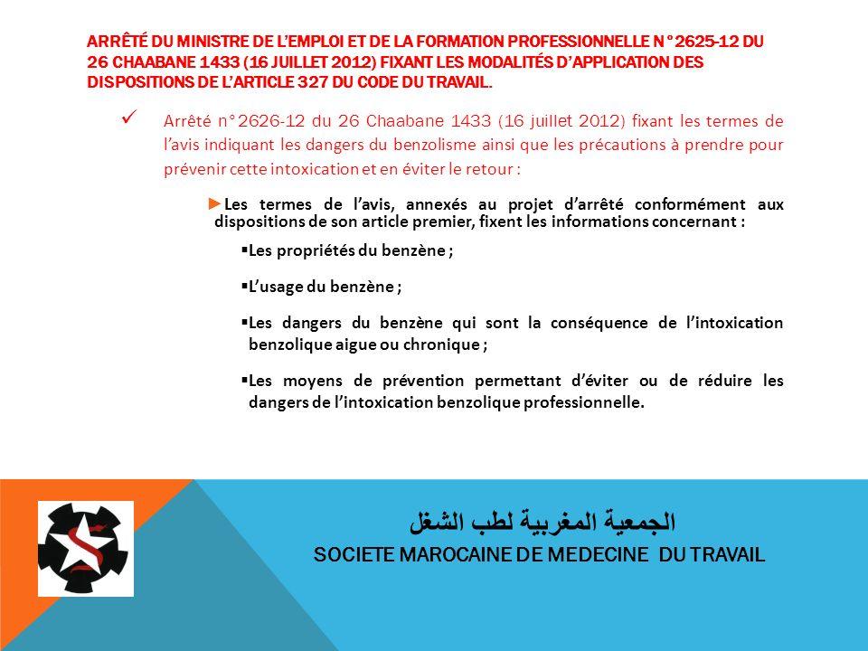 ARRÊTÉ DU MINISTRE DE LEMPLOI ET DE LA FORMATION PROFESSIONNELLE N°2625-12 DU 26 CHAABANE 1433 (16 JUILLET 2012) FIXANT LES MODALITÉS DAPPLICATION DES DISPOSITIONS DE LARTICLE 327 DU CODE DU TRAVAIL.