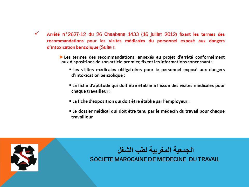 Arrêté n°2627-12 du 26 Chaabane 1433 (16 juillet 2012) fixant les termes des recommandations pour les visites médicales du personnel exposé aux danger