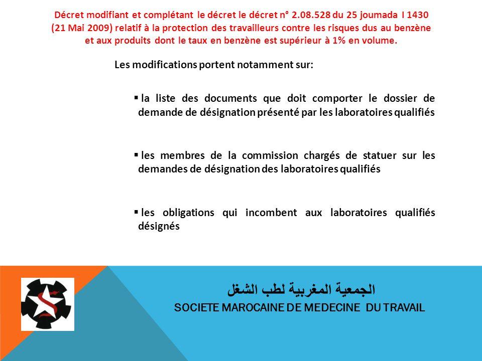 Décret modifiant et complétant le décret le décret n° 2.08.528 du 25 joumada I 1430 (21 Mai 2009) relatif à la protection des travailleurs contre les risques dus au benzène et aux produits dont le taux en benzène est supérieur à 1% en volume.