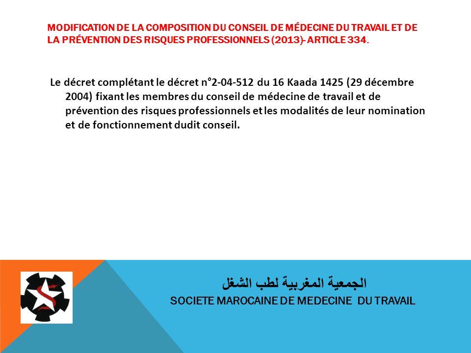 MODIFICATION DE LA COMPOSITION DU CONSEIL DE MÉDECINE DU TRAVAIL ET DE LA PRÉVENTION DES RISQUES PROFESSIONNELS (2013)- ARTICLE 334. Le décret complét