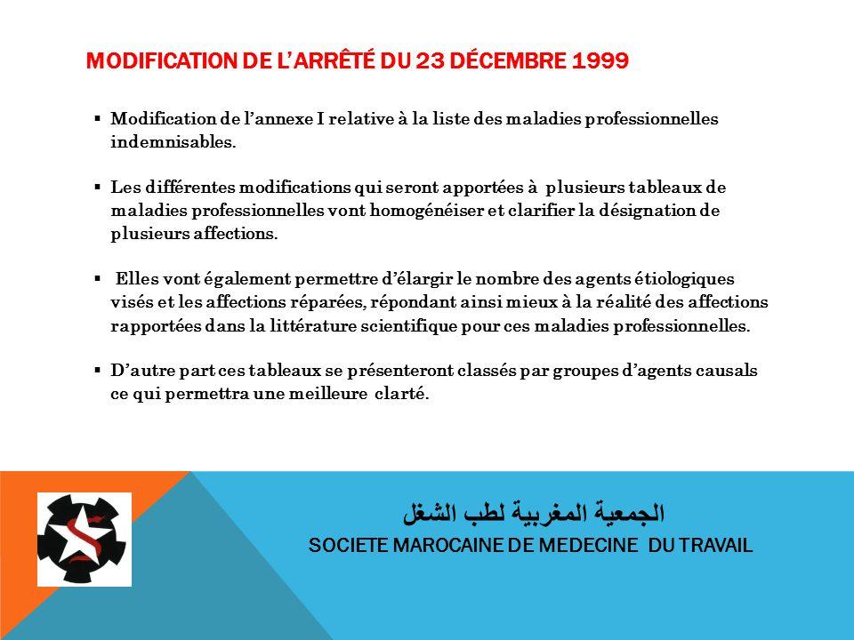 MODIFICATION DE LARRÊTÉ DU 23 DÉCEMBRE 1999 Modification de lannexe I relative à la liste des maladies professionnelles indemnisables. Les différentes