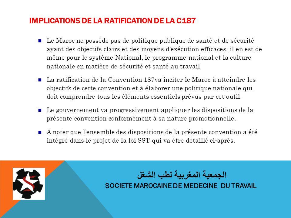 IMPLICATIONS DE LA RATIFICATION DE LA C187 Le Maroc ne possède pas de politique publique de santé et de sécurité ayant des objectifs clairs et des moyens dexécution efficaces, il en est de même pour le système National, le programme national et la culture nationale en matière de sécurité et santé au travail.