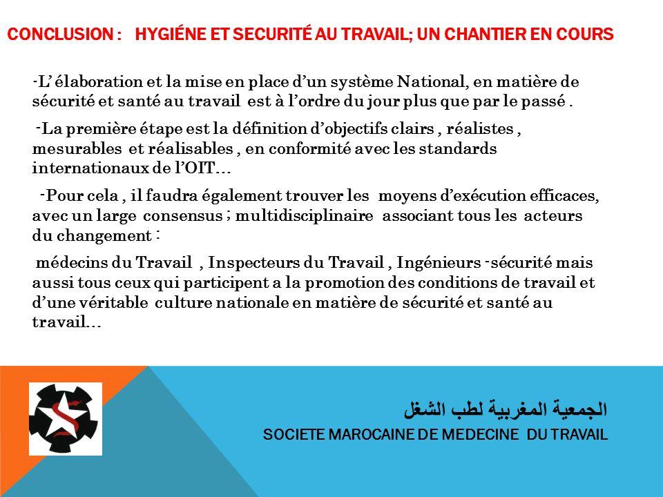 CONCLUSION : HYGIÉNE ET SECURITÉ AU TRAVAIL; UN CHANTIER EN COURS - L élaboration et la mise en place dun système National, en matière de sécurité et