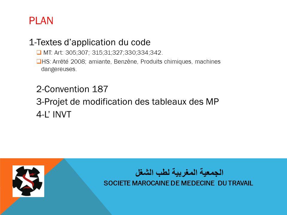 PLAN 1-Textes dapplication du code MT: Art: 305;307; 315;31;327;330;334;342. HS: Arrêté 2008; amiante, Benzène, Produits chimiques, machines dangereus